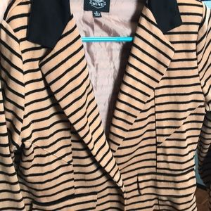 Brown and black striped blazer style overlay